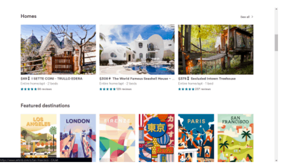 This is an image of AirBnb's well designed website.