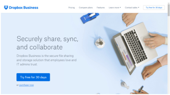 This is an image of Dropbox's well designed website.