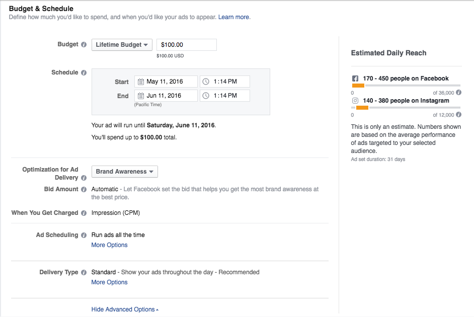 Setting your Facebook ad Budget and Schedule