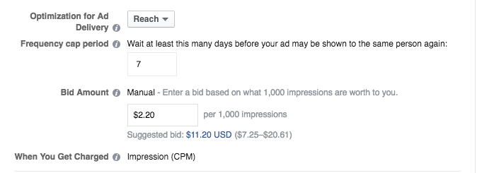 Optimizing your Facebook ad for Reach