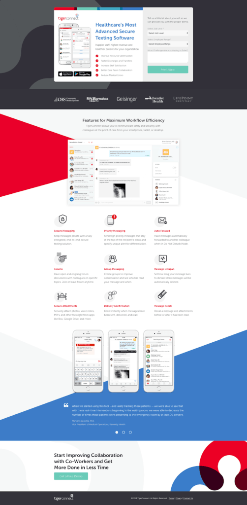 Example of landing page with strong calls-to-action to enhance B2B lead generation.