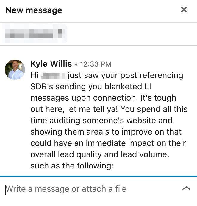 Example of sales prospecting outreach.
