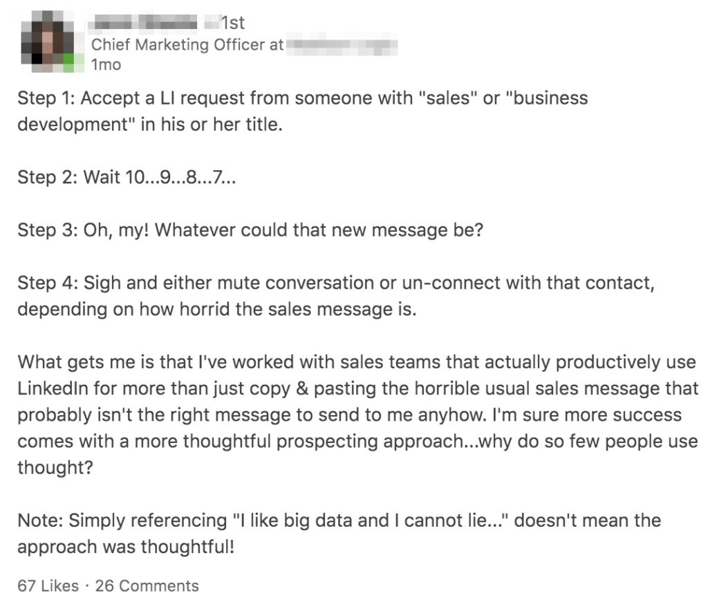Example of prospect who doesn't fully understand sales prospecting process.