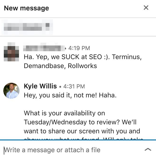 Example of conversation with sales prospect potential client.