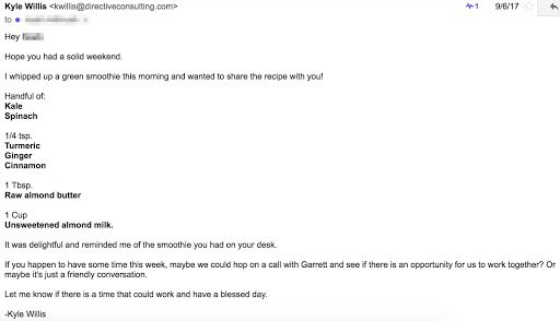 An example showing how extra effort can pay off in sales prospecting.
