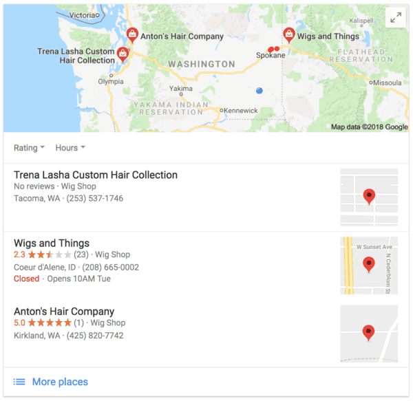 The pop-up local 3-pack feature that helps users find places close to them.