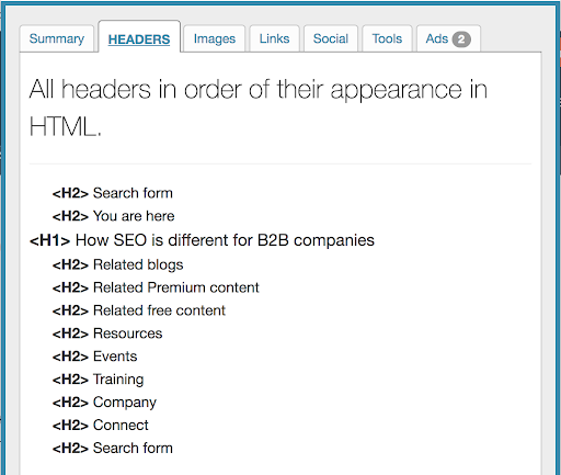 Importance of checking for keywords in headings.