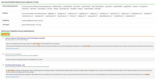 Use SEO Content Template Tool to find top pages currently in SERP for targeted keyword.