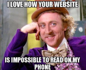 Meme about the importance of mobile-friendly websites