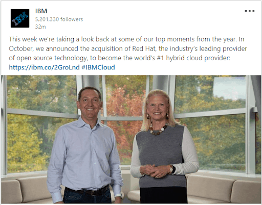 Example of business purpose in IBM social media post, which is a part of the new 4 P's of marketing.