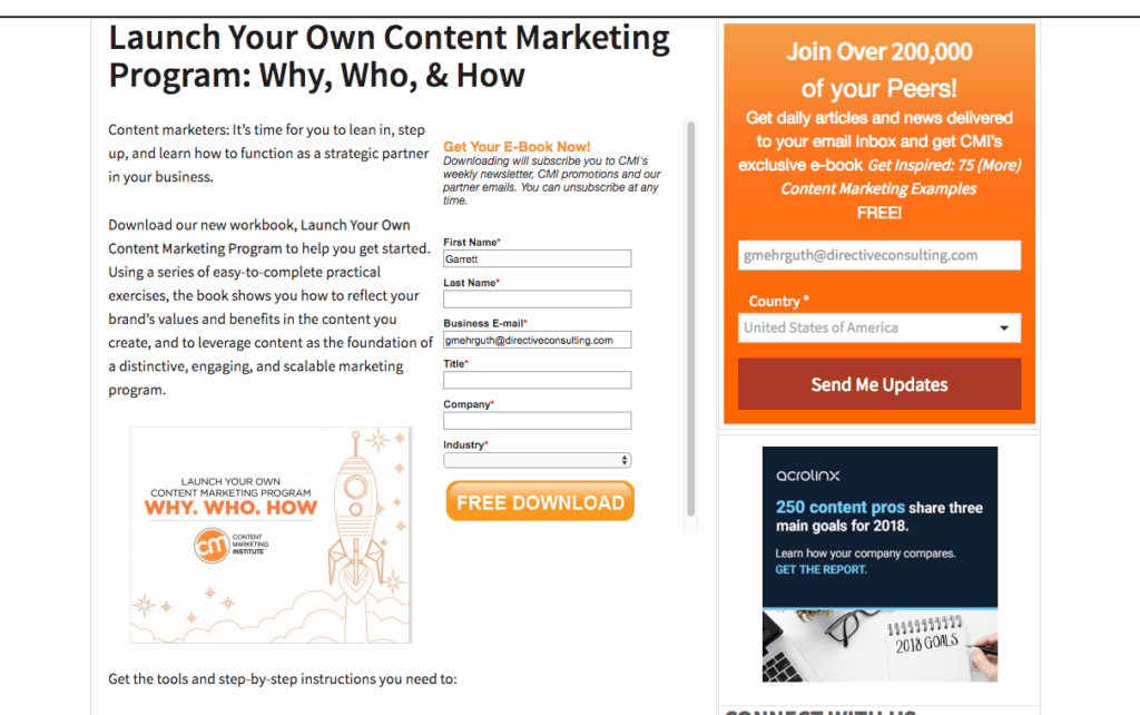 Example of B2B marketing plan to reach targeted demographic easier.