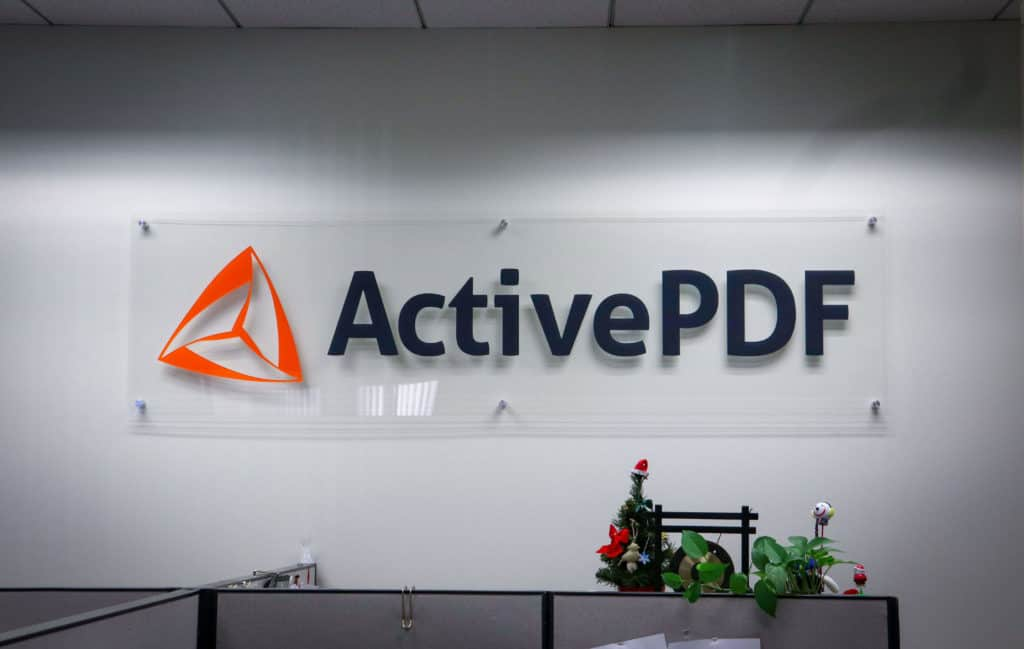 Image of Active PDF's sign inside of their office.