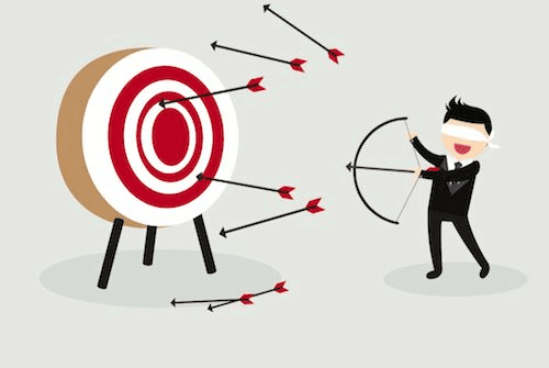 Graphic of man shooting arrows at target for account-based marketing success.