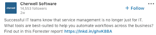 Example of strong LinkedIn example to build out better account-based marketing.