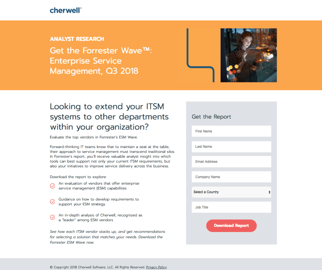 Example of strong landing page to better account-based marketing.