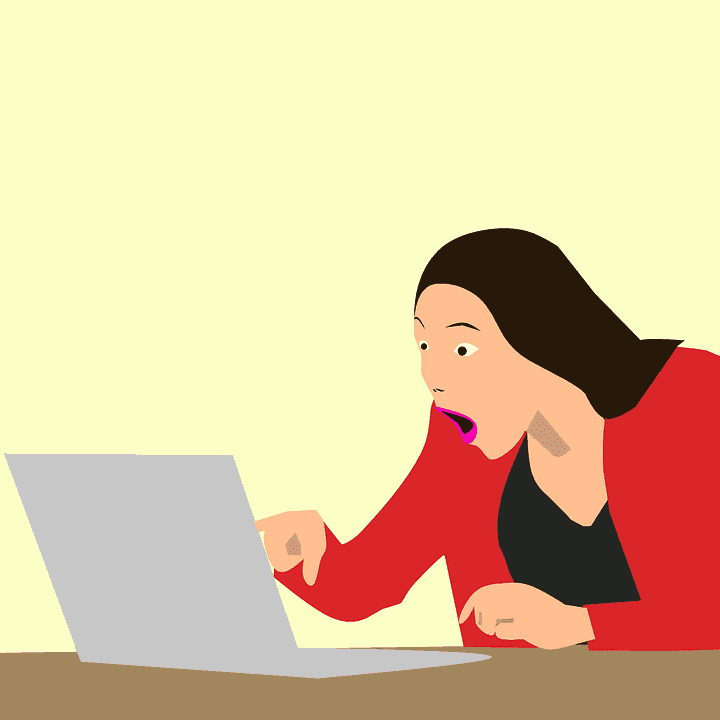 Image of woman after seeing engaging hook in digital content marketing.