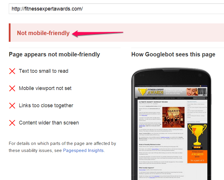 Image showing what it looks like when your website is not mobile friendly.