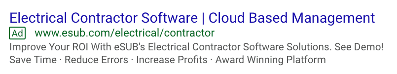 Updated ad messaging on the SERP.