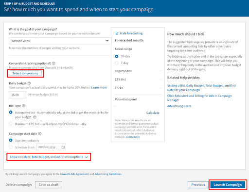 Set up conversion tracking in LinkedIn campaign.