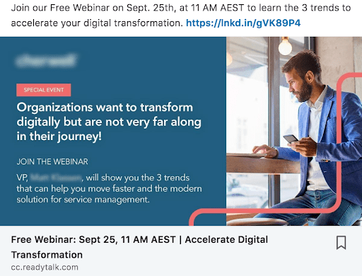 Screenshot of sponsored content webinar, used as an upsell for database marketing strategy.