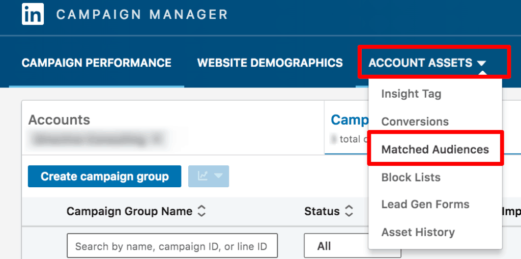Screenshot showing how to start creating a LinkedIn ads campaign.