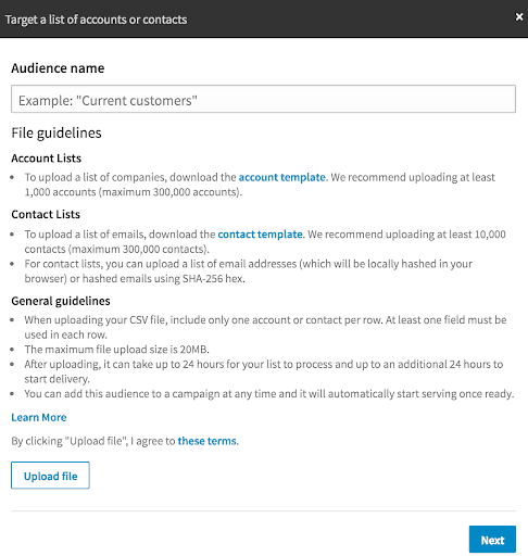 Screenshot showing how to upload a personalized list into LinkedIn Campaign Manager.
