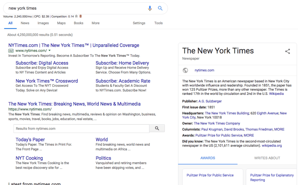 Screenshot of navigational search intent in the SERP.