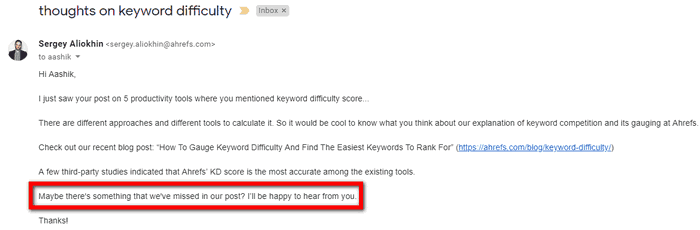 Example of blog promotion outreach.