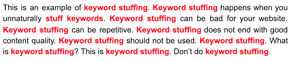 keyword stuffing is a form of black hat seo