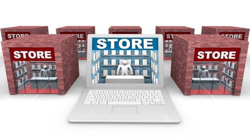 A brick and mortar store versus a online store.