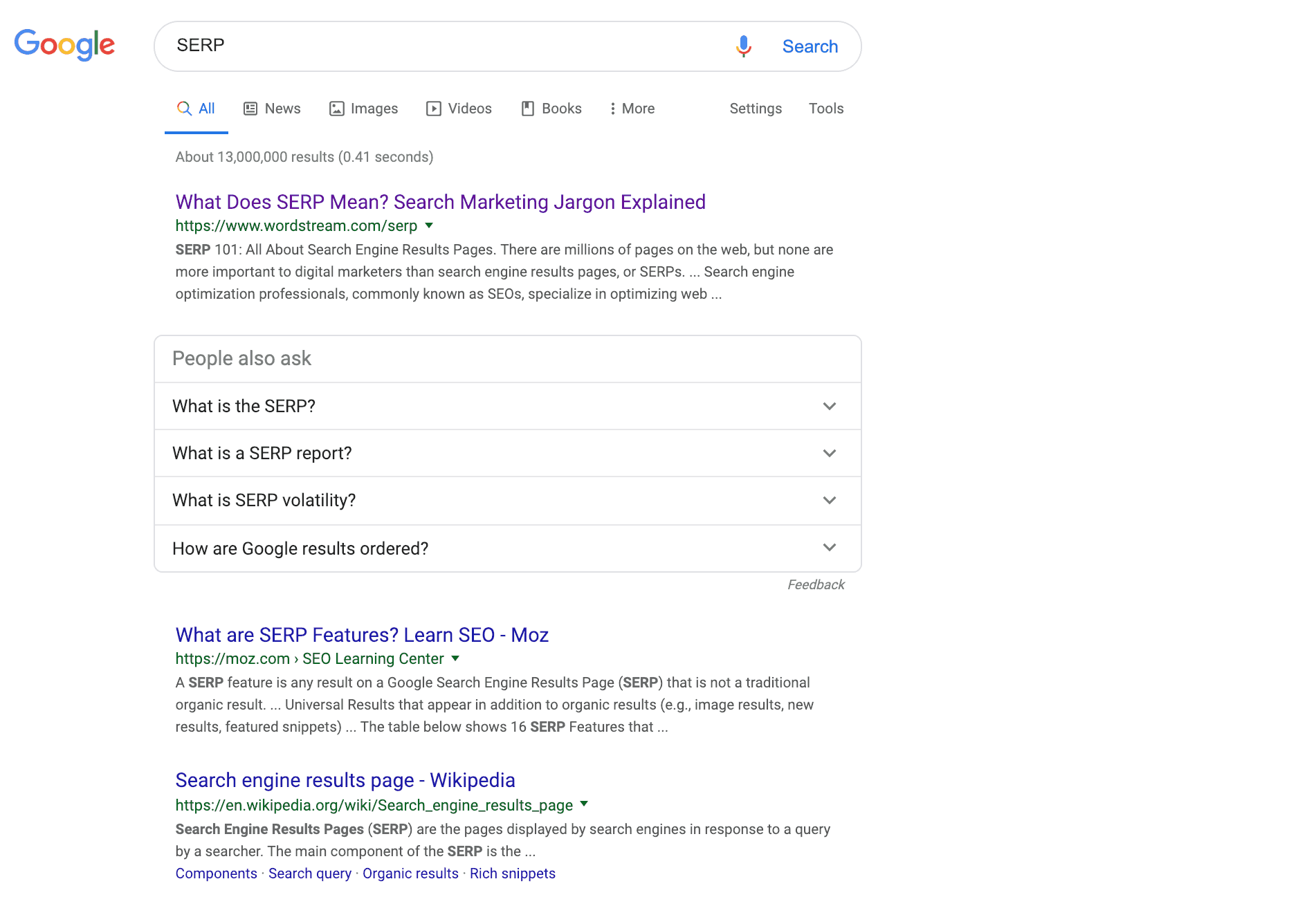 a picture of a serp with the keyword serp
