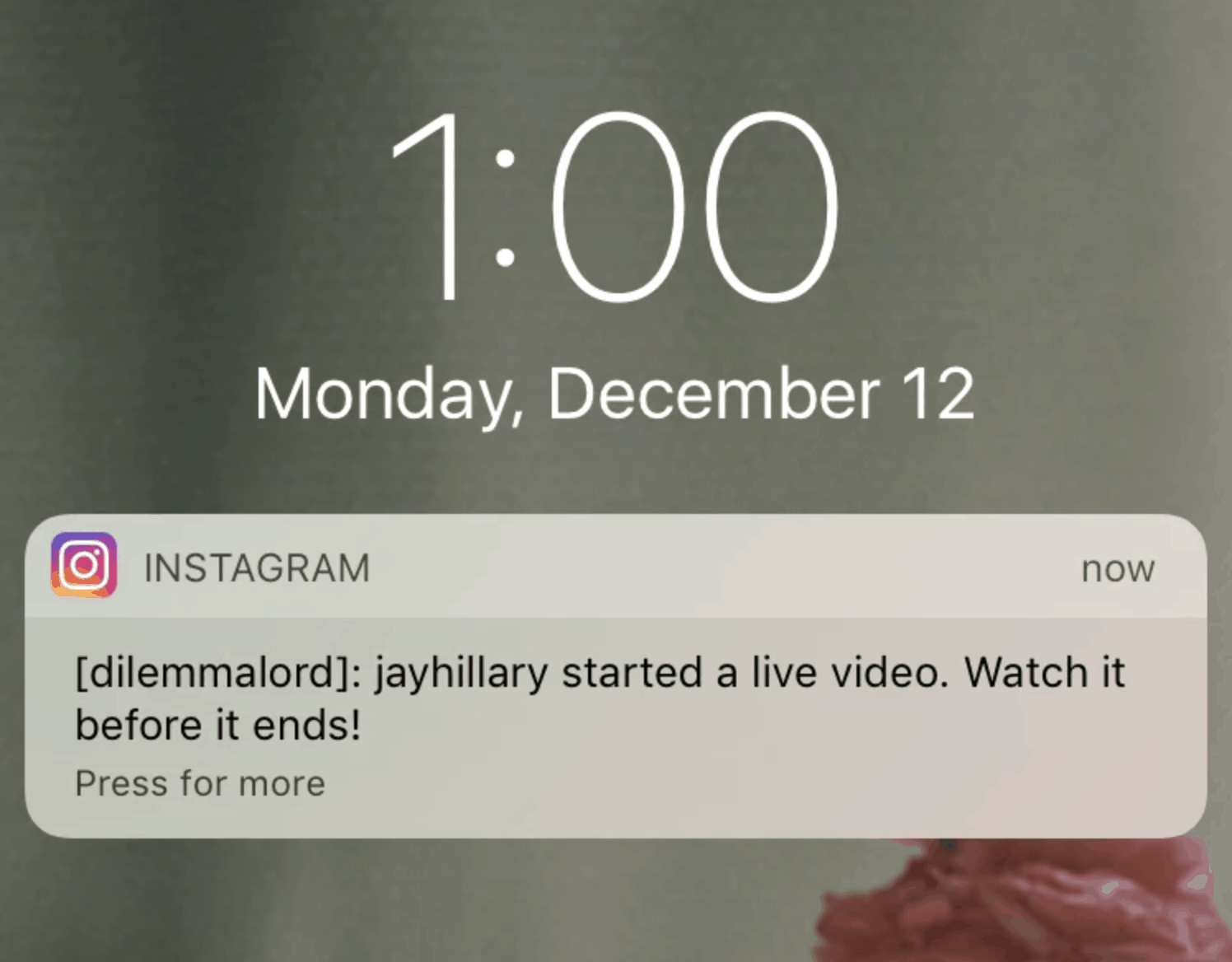 Screenshot of Instagram notification of live video content on a mobile device.