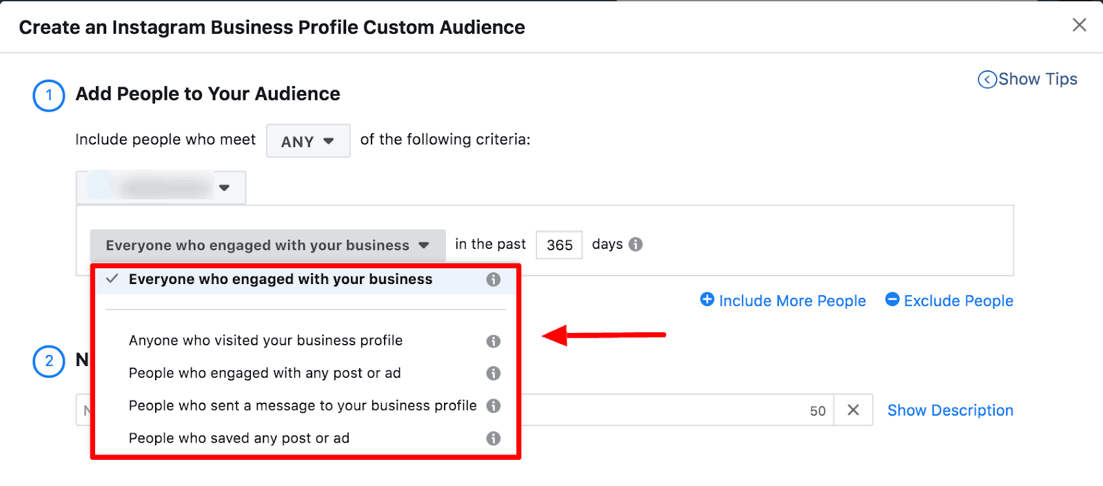 Screenshot showing how to create an Instagram Business Profile custom audience.