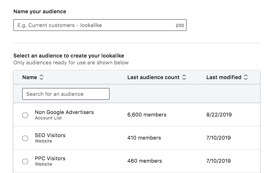 Screenshot showing how to name your lookalike audiences in LinkedIn.