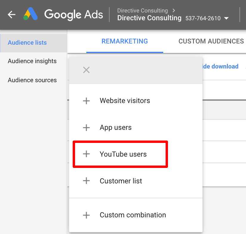 Screenshot showing how to set up remarketing to YouTube users.