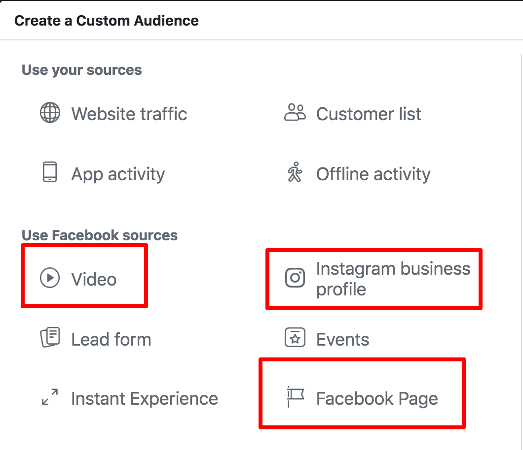 Screenshot showing how to create a custom audience in Facebook.
