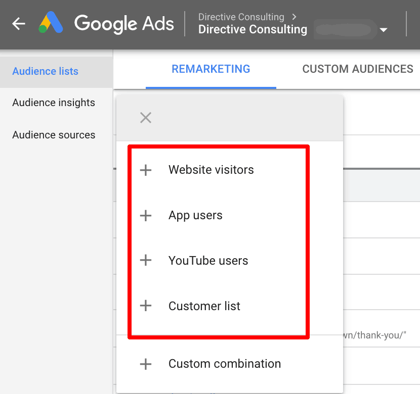 Screenshot showing how to set up your audience type.
