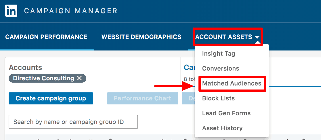 Screenshot of how to set up matched audiences in LinkedIn.