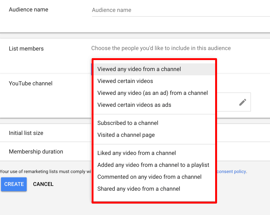 Screenshot showing how to choose specific groups you'd like to target in an remarketing campaign.