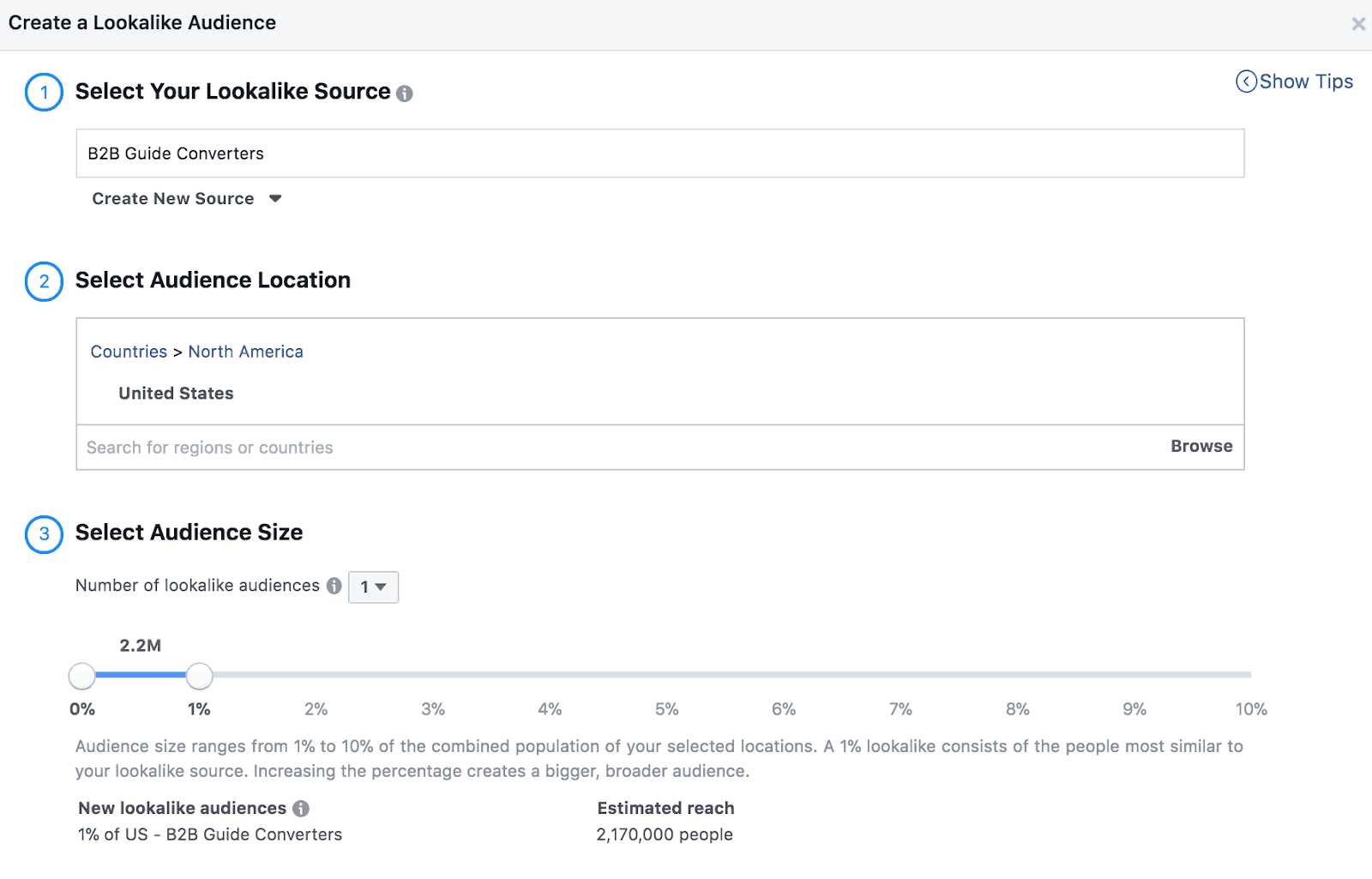 Screenshot showing how to select your audience size for a lookalike audience.