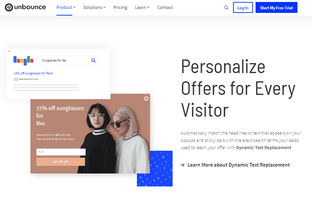 unbounce personalization example