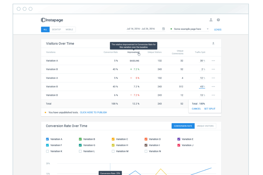 Instapage User Interface