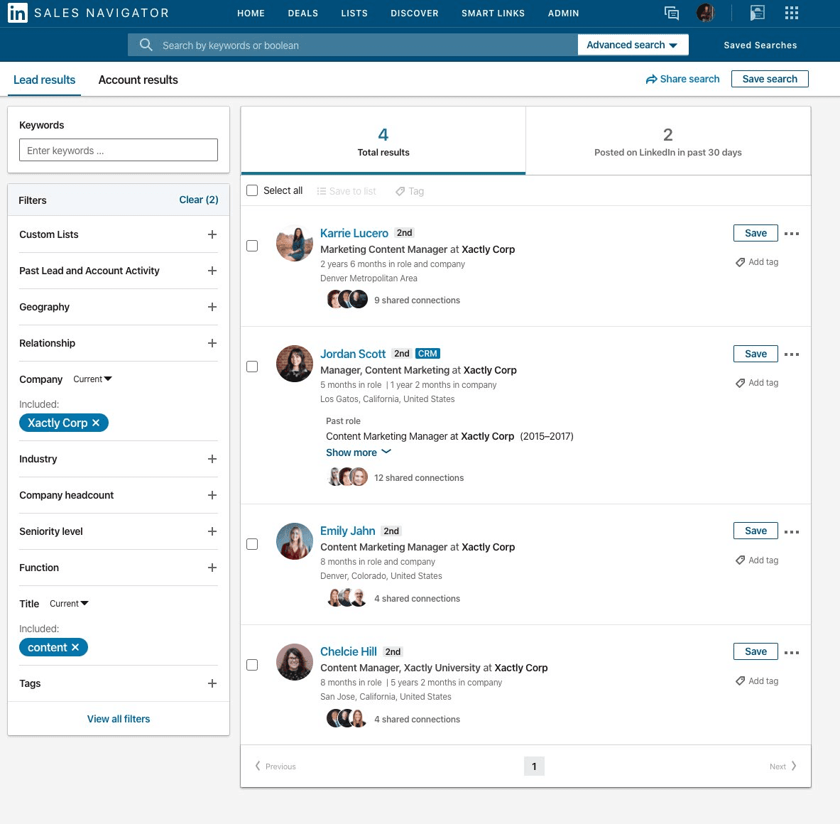 Sales Navigator helps you find the right people to contact for guest post opportunities.
