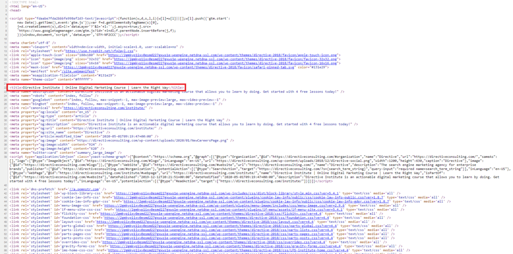 seo page title html