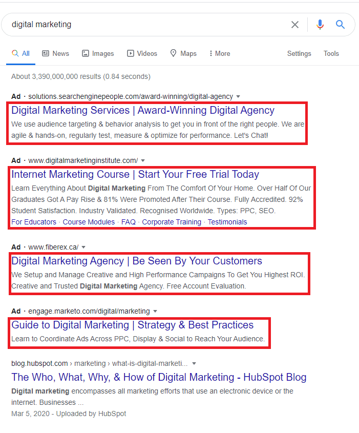 search ad copy example