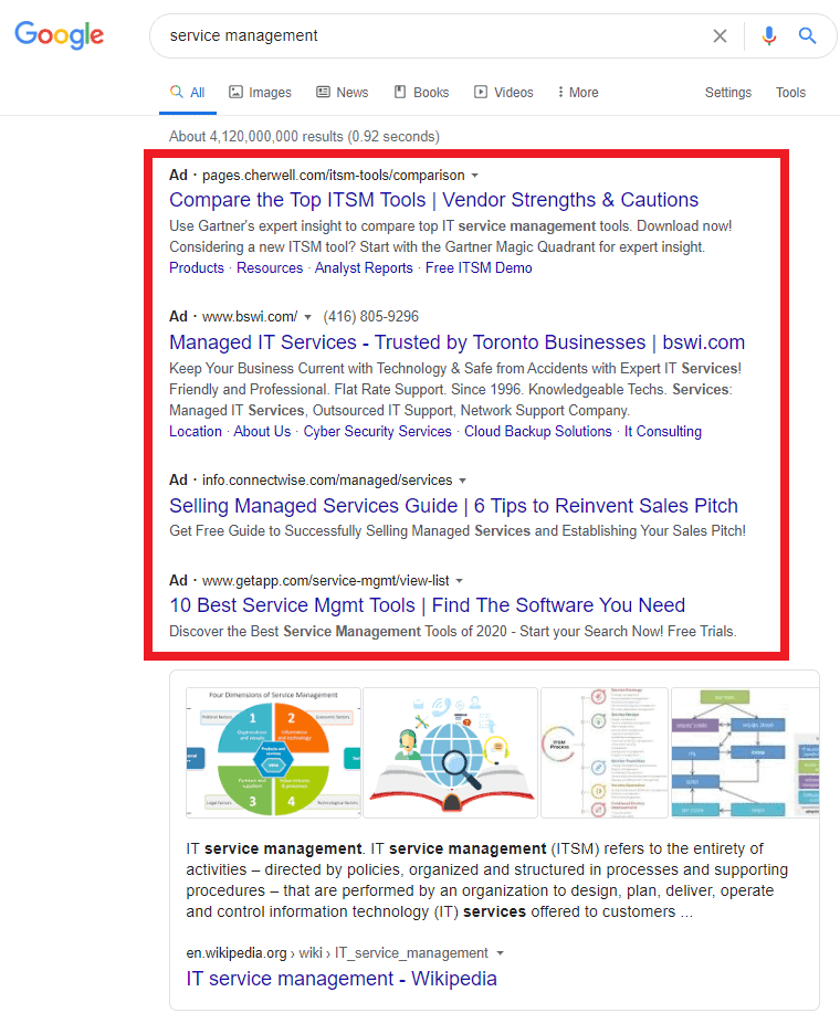 paid search serp preview