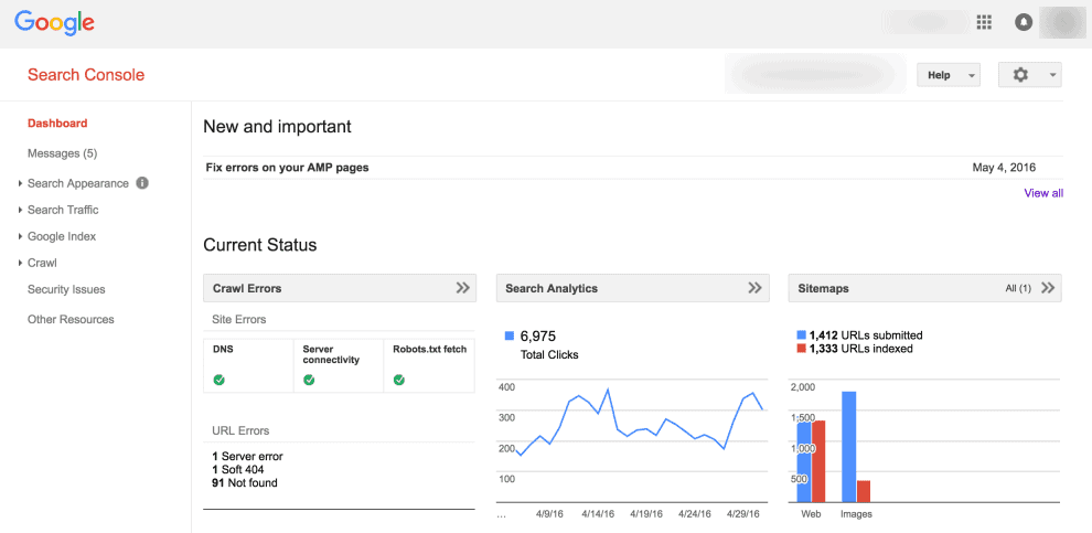 google search console amp pages example