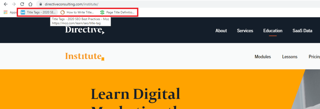 seo page title in bookmarks
