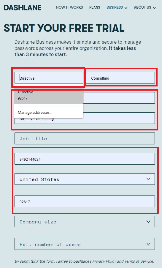 auto fill browser form