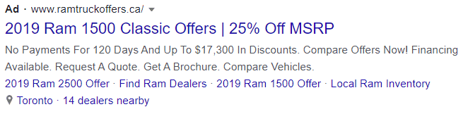 truck google text ad example